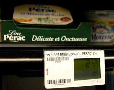 lou perac electronic price tag mousse delicate käse